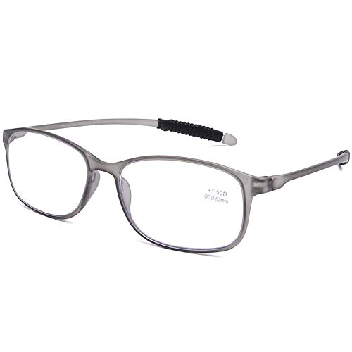 DOOViC Blaulichtfilter Computer Lesebrille Eckig Rahmen Grau Brille mit Stärke Lesehilfe/Sehhilfe für Damen/Herren 3,0
