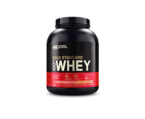 Optimum Nutrition Gold Standard 100% Whey Protein Powder, Strawberry Banana, 5 Pound (Packaging May Vary)
