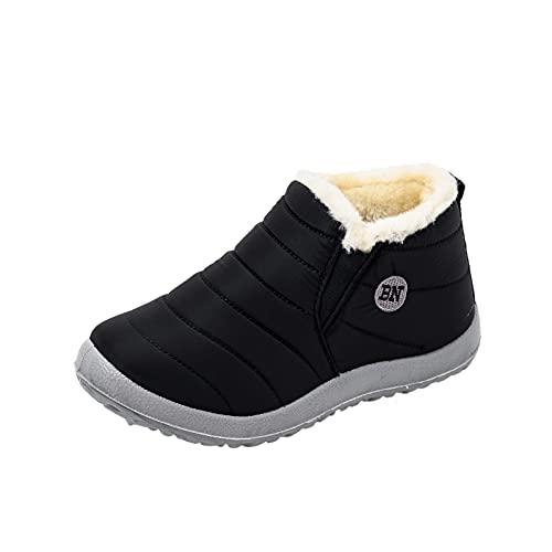 Dasongff Winterstiefel Damen Gefüttert Wasserdicht Winterschuhe Flach Rutschfeste Warme Schneestiefel Leicht Flache Bequem Kurze Stiefel Winter Stiefel Schlupfstiefel Walkingschuhe Boots
