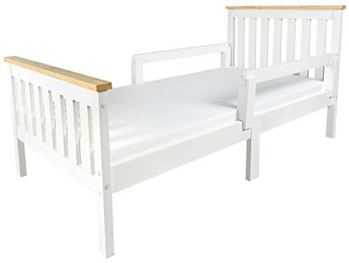 Leomark Individual Cama Infantil de Madera - MILANO PINE - con Colchón espuma, Somier, Barra de seguridad, para niños adultos, color blanco, Mobiliario Pino, Espacio para dormir: 70x140 cm