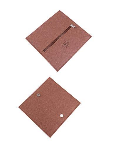RAIKOU Etui mapje pennenetui pennenmap vouwbaar vilt multifunctionele zakken vilten portemonnee geldtas schoolmapje sleuteltas tasje mobiele telefoon coffee
