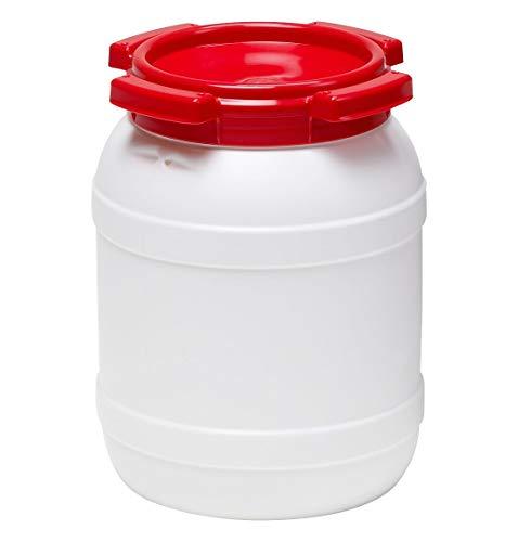 Curtec HDPE Weithalsfass, stapelbar, wasserdicht, temperaturformbeständig bis 80°C, mit rotem Schraubdeckel, Gummidichtung, naturweiß, 6 Liter