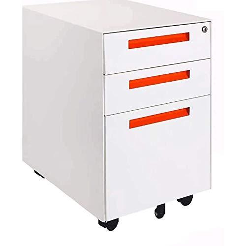 Gabinete de Archivos con Cajones Archivo contenedor blanca con 3 cajones, carpetas de archivos Gabinete, un archivador, Fichero archivador, archivo móvil Armarios de oficina con cerradura de pedestal