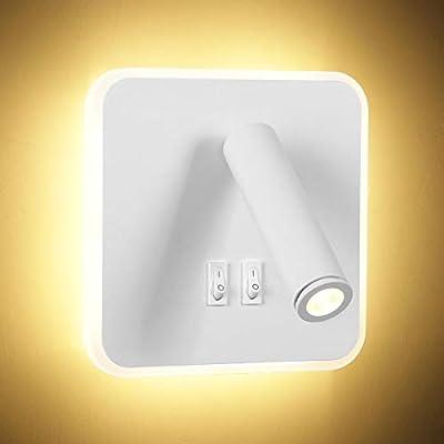 Diseño 2 en 1: Combinación perfecta de aplique y foco, aplique para iluminación interior y foco para lectura. Con este foco de pared, puede ahorrar más espacio y hacer su vida mucho más conveniente LED de Alto Brillo y Ahorro de Energía: La lámpara d...