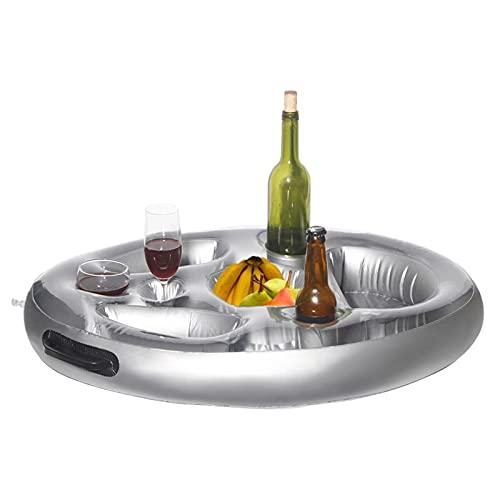 Hinchable Portavasos Piscina Titular De Bebida Inflable Soporte para Botellas, Material De PVC Verano Playa Latas Tazas Cerveza Botella Juguetes con 8 Ranuras, para Ponga Copa De Vino/Frutas(70×50cm)
