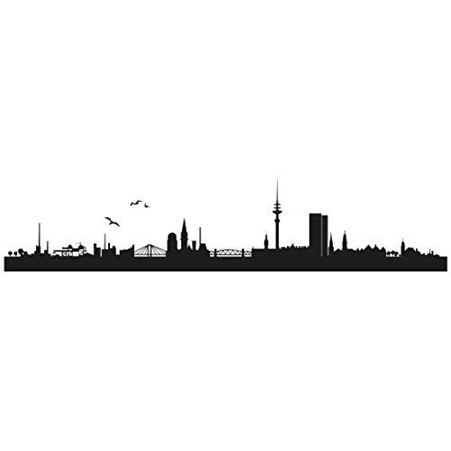 Wandtattoo Skyline Hamburg 002 - Größe: L - 125cm x 26cm - 23 mögliche Farben