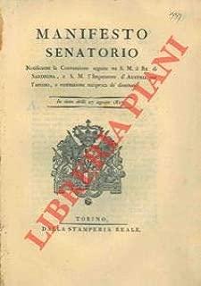 Sulla convenzione seguita tra il Re di Sardegna e l'Imperatore d'Austria per l'arresto e la restituzione reciproca dei disertori.