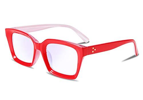 FEISEDY Occhiali da Lettura Presbiopia Anti Luce Rosso Uomo e Donna, Vista Antiriflesso di affaticamento per Telaio Piazza Vintage Occhiali B2479 (Rosso,+1.75)