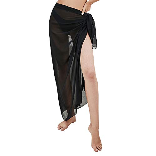 American Trends Sarong Swimsuit Cover ups for Women Sexy Bikini Beach Wrap Skirts Long Chiffon Bathing Suit Coverups Black Medium
