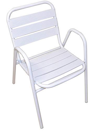 PEGANE Fauteuil empilable en Aluminium Coloris Blanc - Dim : H.78 x L.50 x P.50 cm -A Usage Professionnel