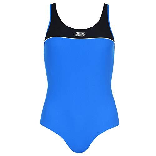 Slazenger Damen Ringerruecken Badeanzug Schwimmanzug Bademode Schwimmen Strand Blau/Weiß/Schwarz S