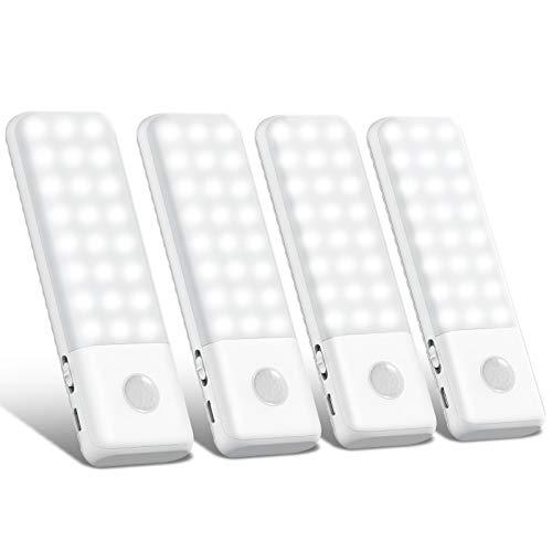 [4 Paquete] Luz Armario, Trswyop Súper Brillante 48 LED Luz Nocturna con Sensor de Movimiento, Luz USB Recargable , Lámpara Nocturna Ideal para Armario, Pasillo, Escalerav, Cocina, Garaje