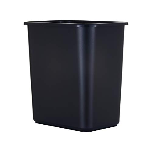 United Solutions 13 Quart Space-Efficient Trash Wastebasket, Fits Under Desk and Narrow Spaces in Commercial Office, Kitchen, Home Office, Dorm: Easy to Clean, Black