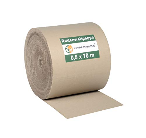 BB-Verpackungen Wellpappe Rollenwellpappe | 0,5 x 70 m (35m²) |Wellkarton Rolle als Füllmaterial | Rollwellpappe 100% Papier recycelbar | ideal für Versand, Umzug & Abdeckung