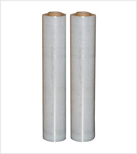 2 Rollen Stretchfolie 23my 500mm 2,5kg Palettenfolie Handfolie Wickelfolie transparent Schrumpffolie wrapping film stretch Plastikfolie Verpackungsfoli (Transparent, 2x)