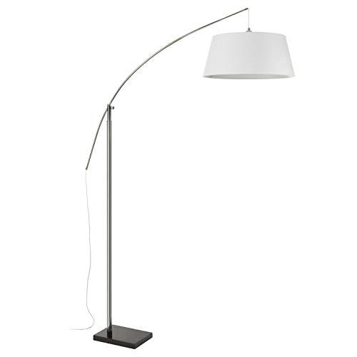 EXO Lighting - Lámpara pie salón SPIN metal cromado-mármol negro y textil casquillo E27 uso interior IP20 Pantalla incluida color blanco (algodón). Pie de salón moderno para salón de estar, comedor, loft y hoteles.