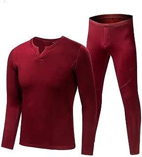 ZSQAW Fleece Long Sports Thermal Underwear Sets Autumn Winter Thickening V-neck Men Warm Suit (Color : D, Size : XXXL code)