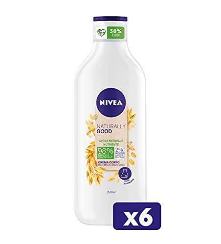 NIVEA Naturally Good Crema Corpo Nutriente all'Avena Naturale in confezione da 6 x 350 ml, Crema nutriente con Avena, Crema ideale per pelle secca o molto secca