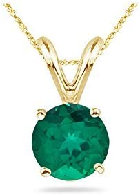 0.20-0.29 Cts of 4 mm AAA Round Russian Lab Created Emerald Solitaire Pendant in 14K White Gold