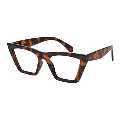 OCCI CHIARI Blaulichtfilter Lesebrille 3,5 Damen, Anti Blaulicht Computerbrille, Retro Lesehilfe Lesebrille mit großen Gläsern (Braune Schildpatt, 3.5 Dioptrien)