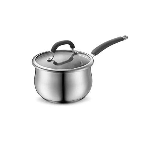 LONGWDS sartén La leche Olla, 18 cm de acero inoxidable olla la leche, cocina de inducción universal de alta calidad Cocinar la cacerola la leche, (color: plata, tamaño: 18 cm) Cocina