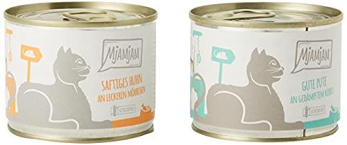 MjAMjAM - Premium Nassfutter für Katzen - Monopaket 1 - mit Huhn und Pute, 6er Pack (6 x 200 g), getreidefrei mit extra viel Fleisch