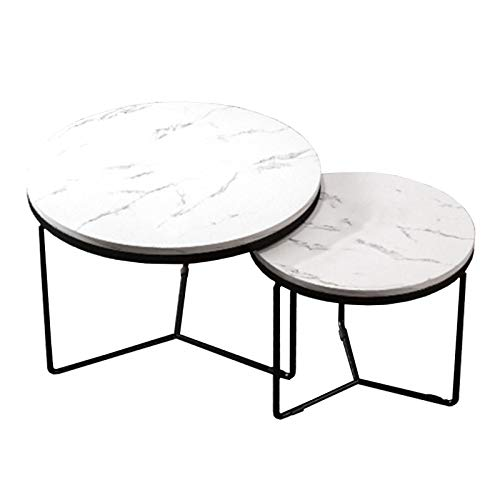 Amrai Modern Round Coffee Table White Set of 2, Side Table Industrial Nesting Tables Tea Table Living Room Sintered Stone Top, 45cm, 60cm, 80cm