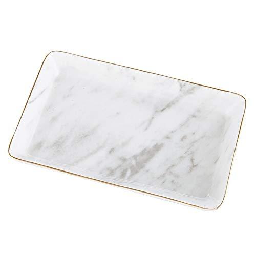 Bandeja de cerámica de mármol para joyas, anillo y collar, caja de almacenamiento de escritorio, borde dorado, regalo para el día de San Valentín (color: blanco)