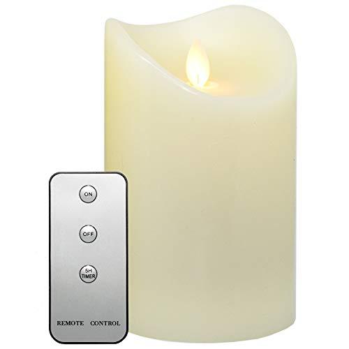 Tronje 15cm LED Kerze mit Timer u. Fernbedienung - Leuchtdauer 1000 Std. Echtwachskerze mit beweglicher Flamme Creme-Weiß