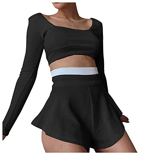 Briskorry Conjunto de ropa de correr sexy para mujer, monocolor, camiseta deportiva y pantalón corto con empalmes de colores, Negro , XL