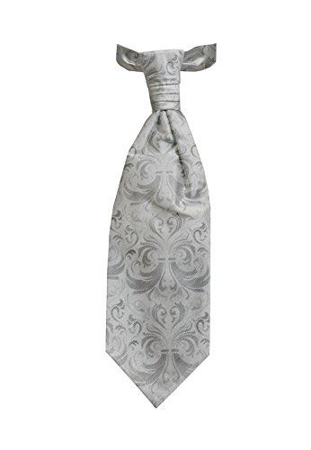 Remo Sartori - Cravattone Plastron Cravatta Da Sposo Cerimonia In Seta Grigio Floreale, Made In Italy, Uomo