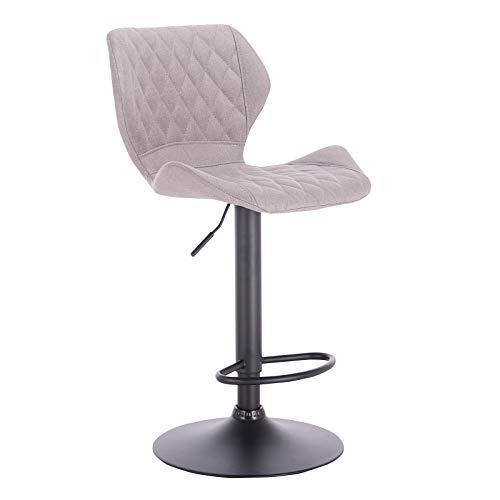 eSituro SBST0370-2 2 x Barhocker Küchenstuhl Barstuhl, höhenverstellbar & 360° drehbar, 2er Set Bar Hocker aus hochwertigem Leinen, Hellgrau - 3