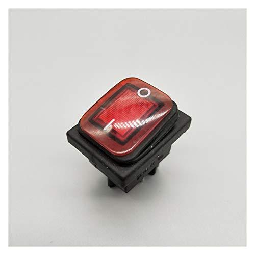 DONGMAISM Interruptor basculante KCD4 20A / 250V 4 Pin DPST IP67 Interruptor de rockero Impermeable Sellado con LED 12V 24V 110V 220V 30x22 (Color : Red, Size : 6 Pin)