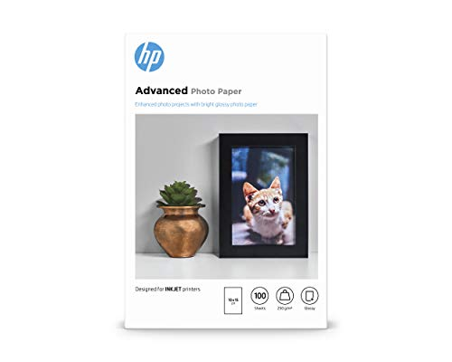 HP Advanced Glossy Photo Paper, Q8692A, 100 hojas de papel fotográfico satinado avanzado, compatible con impresoras de...
