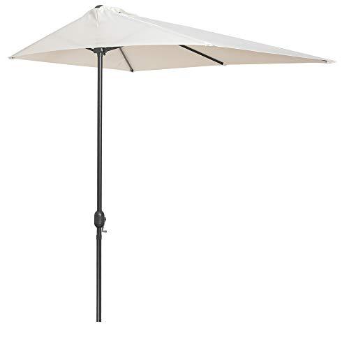 Outsunny Sombrilla Semicircular 230x130x245 cm Parasol para Pared de Jardín con Manivela y Mástil de Metal de Ø38 mm Terraza Balcón Crema