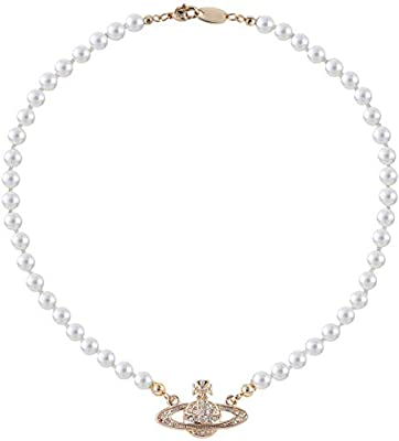 Vivienne Westwood Gold Saturn Pearl Necklace Rhinestone Imitation Necklace with Special Box for Women and Girls