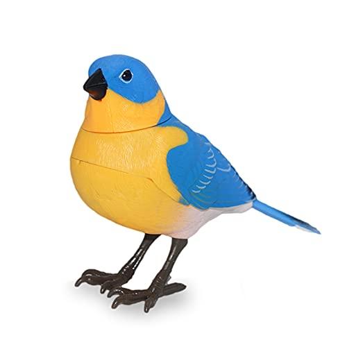 JUGUETECNIC │ Pájaro Cantarín │ ¡Se Activa por Movimiento! | Soporte de Anillo para pasearlo │ Decora Cualquier Espacio con el azulejo Gorjicanelo más Hermoso