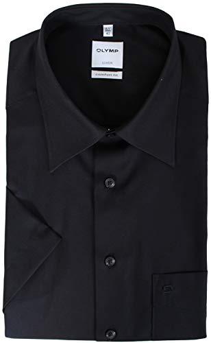 OLYMP Luxor Comfort fit Hemd Halbarm New Kent Kragen Popeline schwarz Größe 45