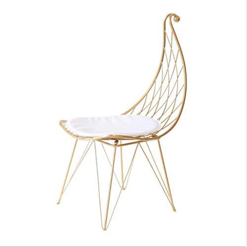 Huahua Furniture Barstuhl, Barhocker, Stuhl Schmiedeeisen Kreative Mode Barhocker Rückenlehne Moderne Esszimmerstuhl Barhocker Draht Barhocker - Gold