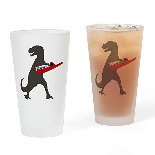 CafePress–T-Rex, spielt die umhängekeyboard Pint-Glas, 16oz Trinkglas frosted