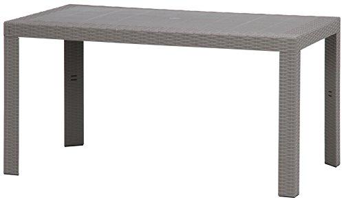 不二貿易 ガーデン プラスチック モダン テーブル ステラ 80x140cm 野外 屋外 使用 可能 グレー