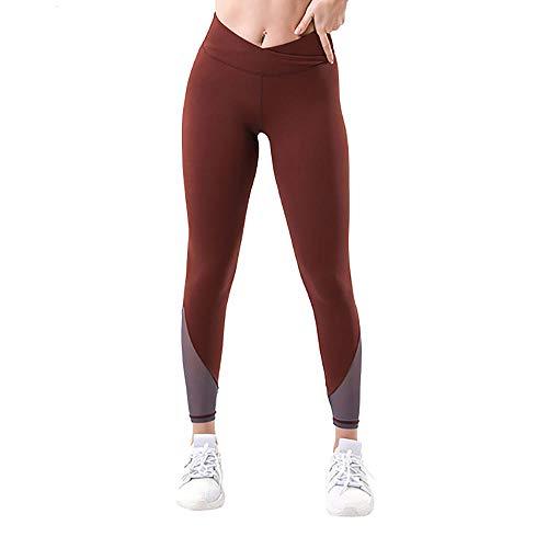 Mallas de compresión con Cintura Alta,opacos Sexy Pantalones de compresión,Pantalones de Yoga de Piel Desnuda de Alta Elasticidad, Pantalones de Fitness de Costura-café Color_S