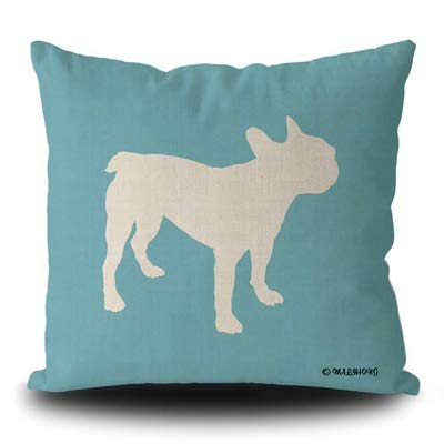 MALIHONG Dog Silhouette Pillowcase Funny Cute Puppy French Bulldog Blue Line Throw Pillow Cover for Sofa Bed Home Decor 18x18 Inch
