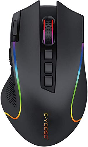 Niceon Wireless Gaming Mouse RGB Backlit, Rechargeable, 9 Programmable Buttons, Ergonomic Mouse for PC Laptop Gamer