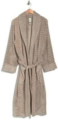Daniel Buchler Men's M-L Iron Chevron Textured Waist Tie Robe