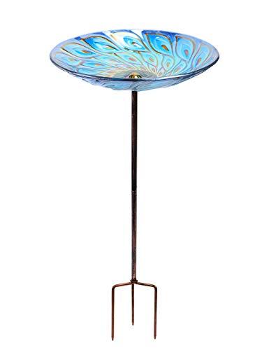 Mumtop Vogeltränke aus Glas, 66 cm hoch, mit Metallpfahl blau