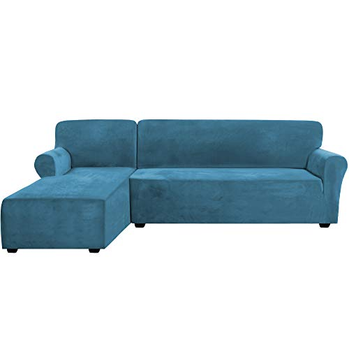 Rich Velvet Stretch 2 Pieces L-Shaped Sofa Covers Anti-Slip Sectional Sofa Slipcovers with Straps Bottom Luxury Thick Velvet Corner Sofa Cover(X-Large Size=Left Chaise with 3 Seater, Peacock Blue)