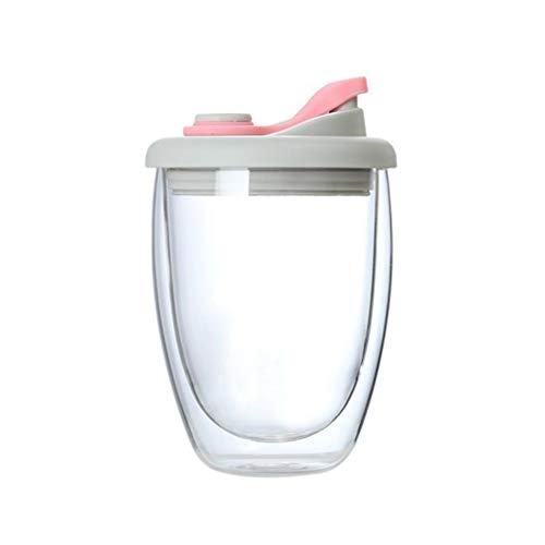 Hanone Tazas de café Taza de Vidrio de Doble Pared Tazas de café y té Latte con Tapa de Silicona Cubierta Rosa + Transparente250ML