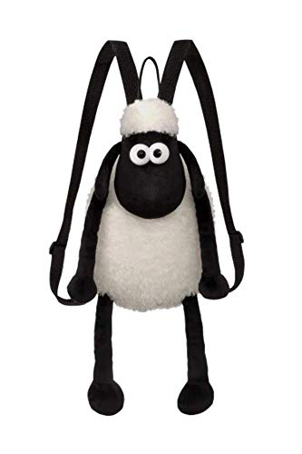 Shaun the Sheep Backpack, 61175, Black and White, 12in, Suitable for Adults and Kids, Plush