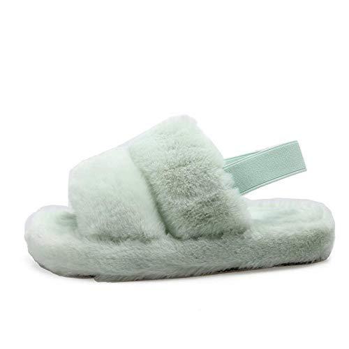 HUSHUI Felpa CóModo Pantuflas,Zapatillas cálidas Antideslizantes de Fondo Grueso, Felpa Interior algodón-Verde_36-37,Zapatillas de Algodón con Memoria